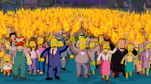 In this animated image created by Matt Groening and released by Twentieth Century Fox, the entire town of Springfield is transformed into an angry mob, in a scene from